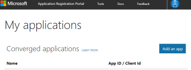 App Registration - Initial Page